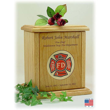 Recessed Embossed Fireman Medallion Wood Urn