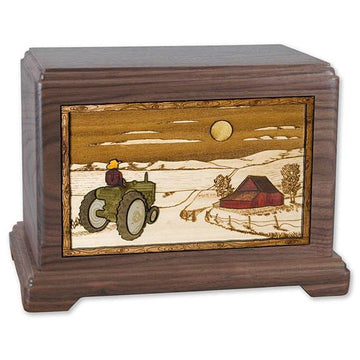 Tractor, Barn and Moon Wood Urn