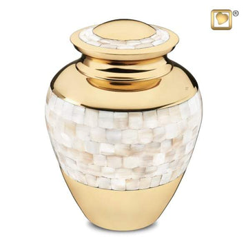 Mother of Pearl Brass Urn