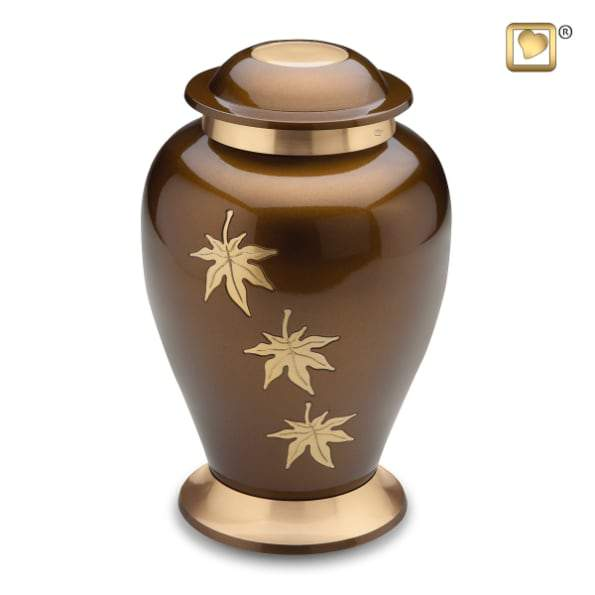 Falling Leaves Tribute Solid Brass Urn