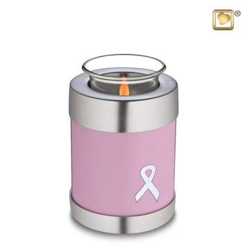 Awareness Pink Solid Brass Tealight