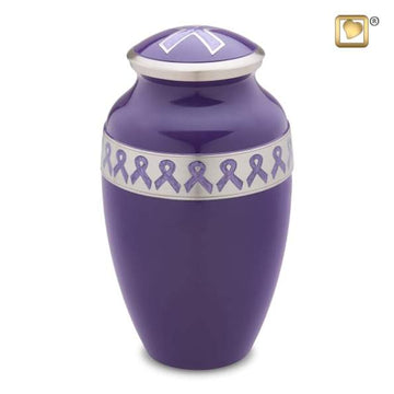 Awareness Purple Solid Brass Urn
