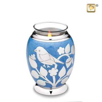 Tealight Silver Blessing Birds