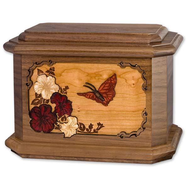 Wood Butterflies Urn
