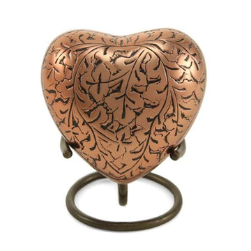 Copper Oak Heart Keepsake Urn
