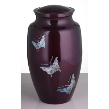 Burgundy Mother of Pearl Inlay Butterflies