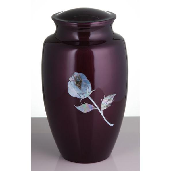 Burgundy Mother of Pearl Inlay Rose Urn