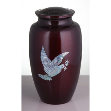 Burgundy Mother of Pearl Inlay Dove Urn