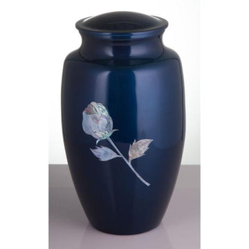 Blue Mother of Pearl Inlay Rose Cremation Urn
