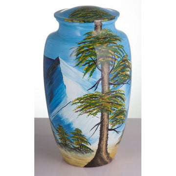 Mountain Hand Painted Urn