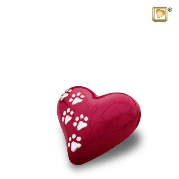Heart Pet Pearlescent Red Urns