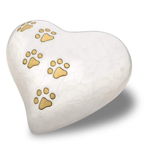 Heart Pet Pearlescent White Urns