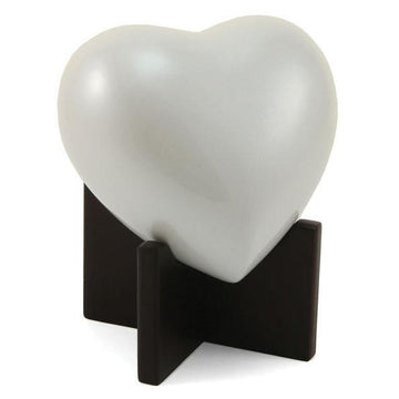Arielle Heart Child Urn in Pearl White
