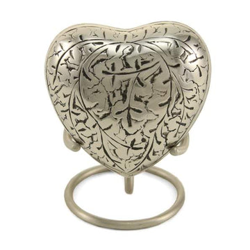 Silver Oak Heart Keepsake Urn