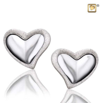Stud Earrings Leaning Heart Rhodium Plated Two Tone