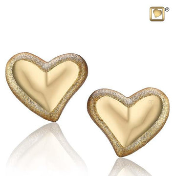 Stud Earrings Leaning Heart Gold Vermeil Two Tone