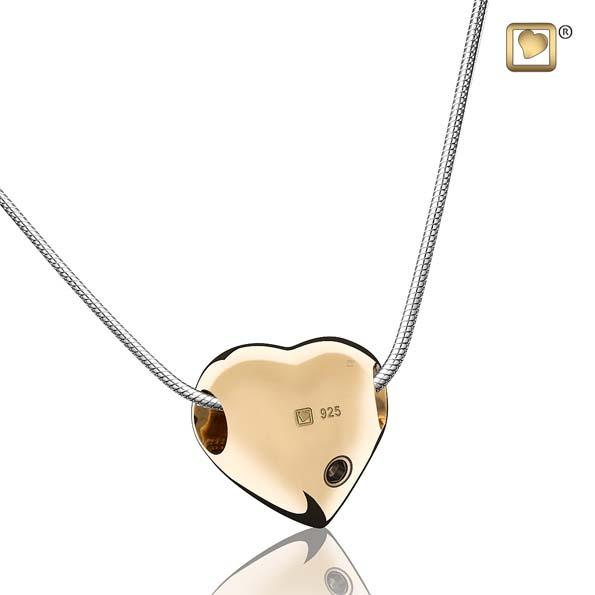 Cremation Pendant LoveHeart Gold Vermeil