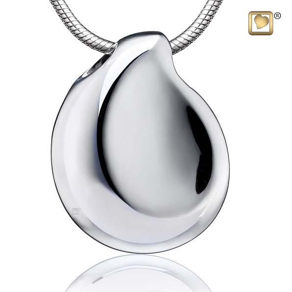 Cremation Pendant TearDrop Rhodium Plated