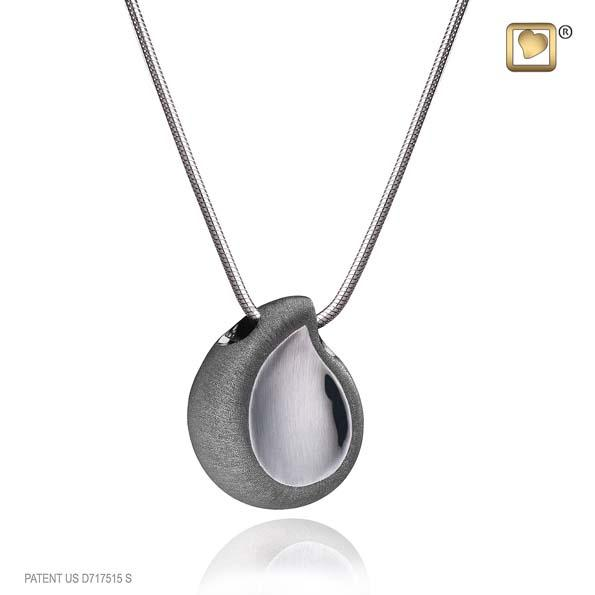Cremation Pendant TearDrop Ruthenium Plated Two Tone