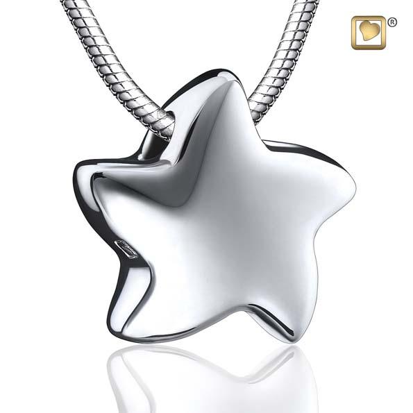 Cremation Pendant Angelic Star Rhodium Plated