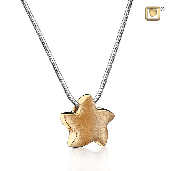 Cremation Pendant Angelic Star Gold Vermeil Two Tone