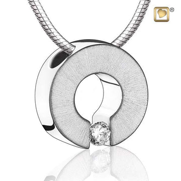 Cremation Pendant Omega Rhodium Plated Two Tone with Clear Crystal