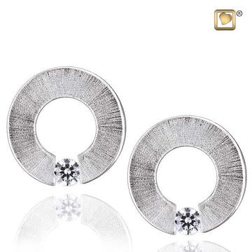Stud Earrings Omega Rhodium Plated Two Tone with Clear Crystal