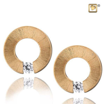 Stud Earrings Omega Gold Vermeil Two Tone with Clear Crystal