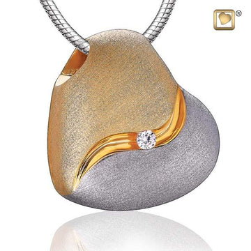 Cremation Pendant Heartfelt Gold Vermeil Two Tone with Clear Crystal