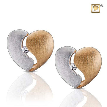 Stud Earrings Heartfelt Gold Vermeil Two Tone with Clear Crystal