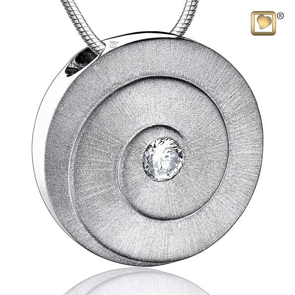 Cremation Pendant Eternity Rhodium Plated Two Tone with Clear Crystal