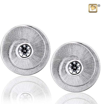 Stud Earrings Eternity Rhodium Plated Two Tone with Clear Crystal