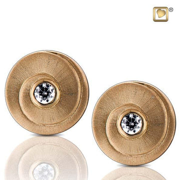 Stud Earrings Eternity Gold Vermeil Two Tone with Clear Crystal