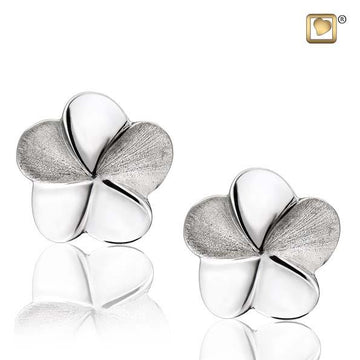 Stud Earrings Bloom Rhodium Plated Two Tone