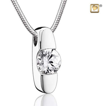 Cremation Pendant Hope Rhodium Plated with Clear Crystal