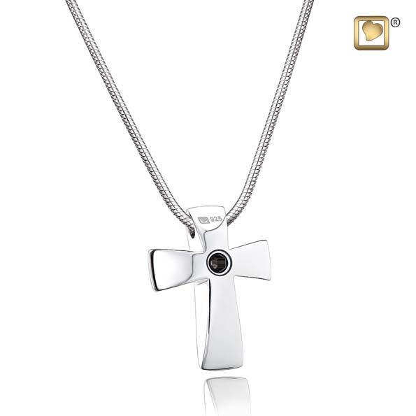 Cremation Pendant Cross Rhodium Plated