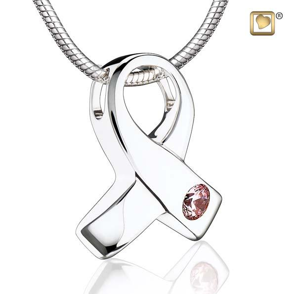Cremation Pendant Awareness Rhodium Plated with Pink Crystal