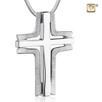 Cremation Pendant Cross Elegant Rhodium Plated Two Tone