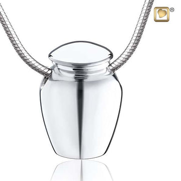 Cremation Pendant Urn Rhodium Plated