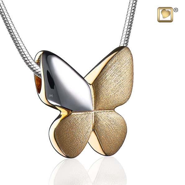 Cremation Pendant Butterfly Gold Vermeil Two Tone