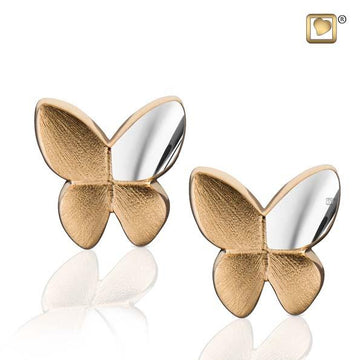 Stud Earrings Butterfly Gold Vermeil Two Tone