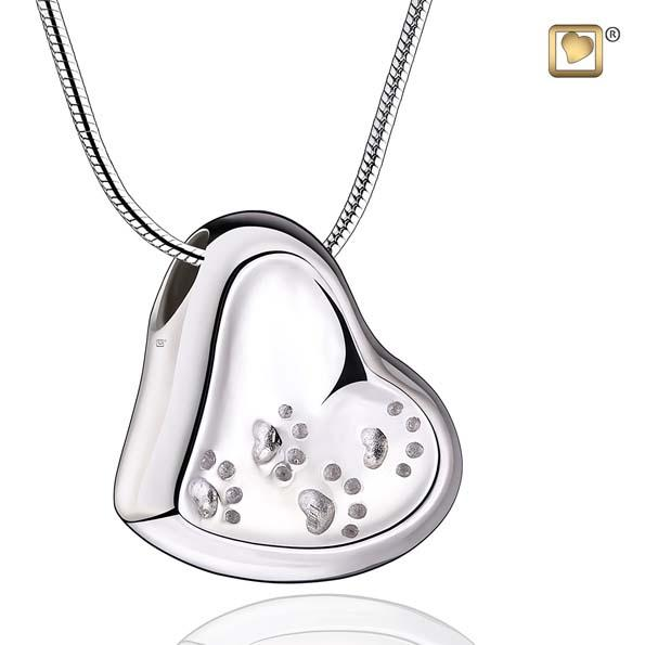 Cremation Pendant Leaning Heart with Paw Prints Rhodium Plated Two Tone