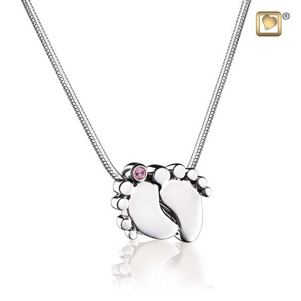 Cremation Pendant Baby Feet Rhodium Plated with Pink Crystal