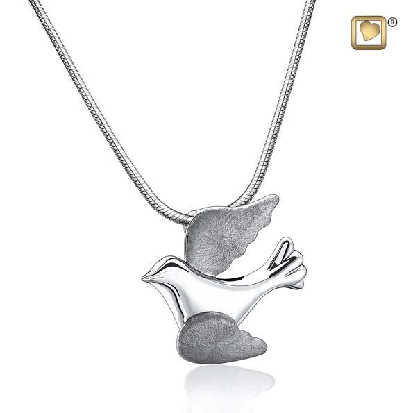 Cremation Pendant Flying Dove Rhodium Plated Two Tone