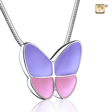 Cremation Pendant Wings Of Hope Lavender Enamel Rhodium Plated