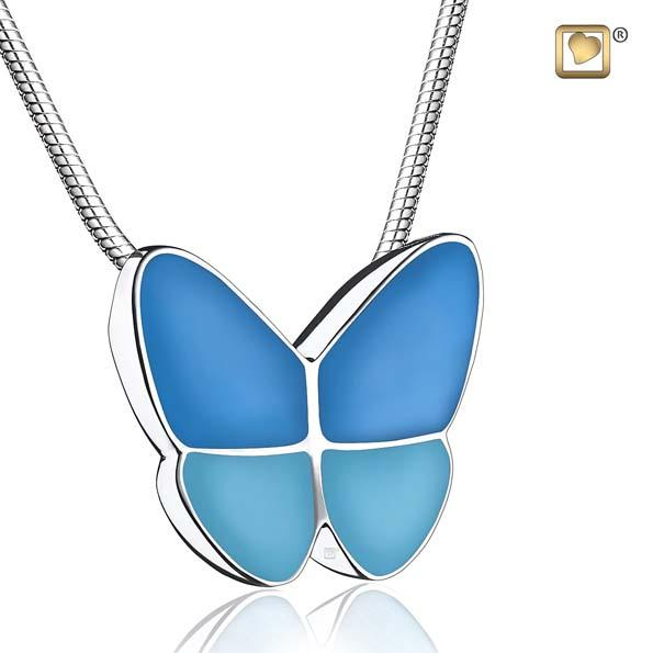 Cremation Pendant Wings Of Hope Blue Enamel Rhodium Plated