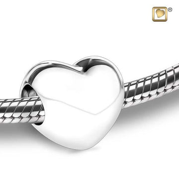 Cremation Bead LoveHeart Rhodium Plated