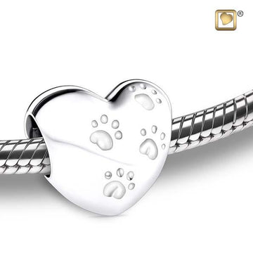 Cremation Bead LoveHeart With Paws Rhodium Plated