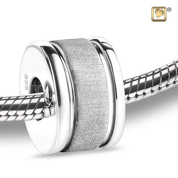 Cremation Bead Omega Rhodium Plated Two Tone
