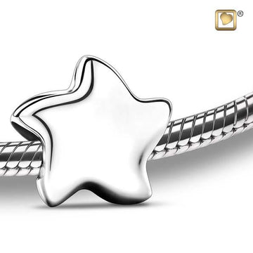 Cremation Bead Angelic Star Silver Rhodium Plated